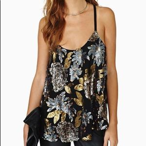 BB Dakota Floral Sequin Black Camisole Blouse